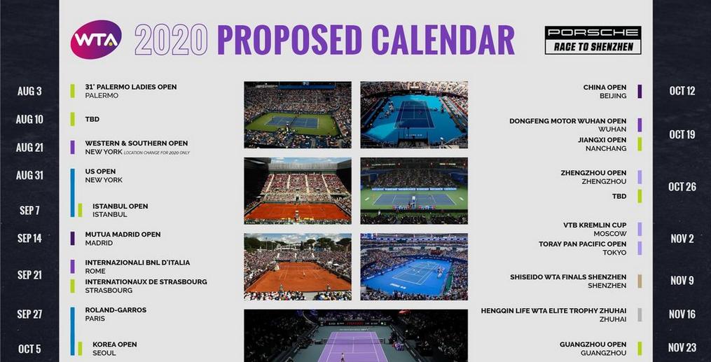 Calendario 2020 de la WTA tras el parón por Covid 19 | Puntodebreak