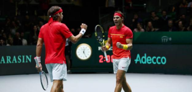 Rafael Nadal y Feliciano López en Finales Copa Davis 2019. Foto: gettyimages