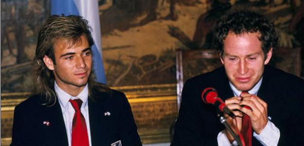 Andre Agassi y John McEnroe. Buenos Aires, julio de 1988. Fuente: Getty