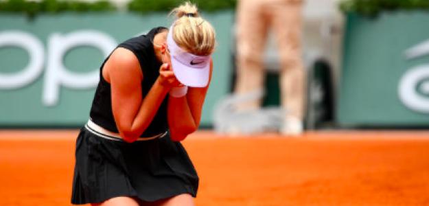 Anastasia Potapova se derrumba tras vencer a Kerber. Fuente: Getty