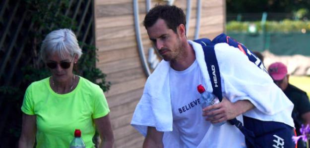 Andy Murray junto a su madre, Judy Murray. Fuente Getty