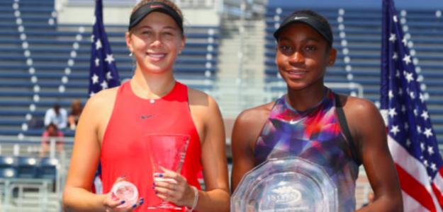 Amanda Anisimova y Cori Gauff en la final del US Open Junior 2017. Fuente: Getty