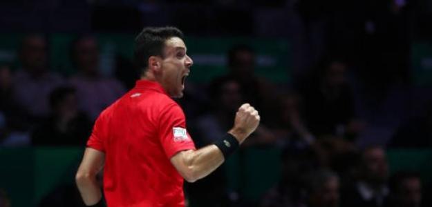 Bautista adelanta a España en la final de la Copa Davis. Foto: Getty
