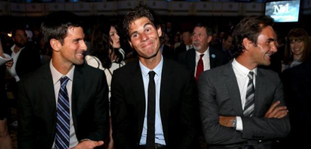 Novak Djokovic, Rafa Nadal y Roger Federer. Fuente: Getty