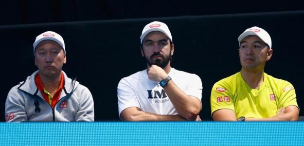 El equipo técnico de Nishikori. Foto: Getty