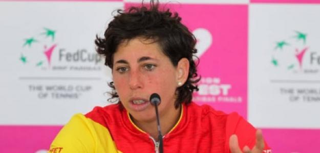 Carla Suárez en rueda de prensa. Foto: Getty Images