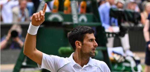 Djokovic celebra en la final de Wimbledon. Fuente: Getty