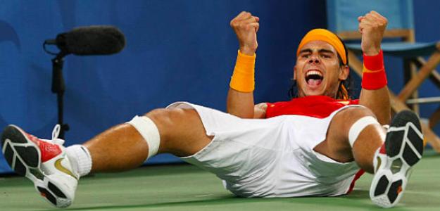 Rafa Nadal tras ganar el Oro Olímpico. Fuente: Getty
