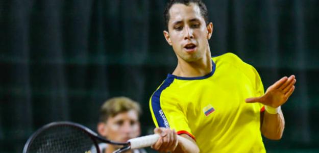 Daniel Galán jugando la Copa Davis. Fuente: Getty