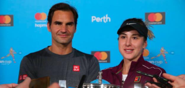 Federer y Bencic tras ganar la Copa Hopman 2019. Fuente: Getty