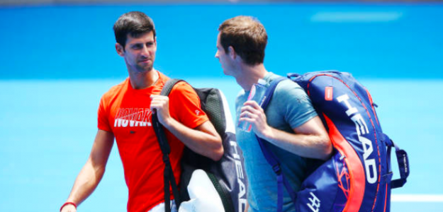 Novak Djokovic y Andy Murray entrenando en el Open de Australia 2019. Fuente: Getty