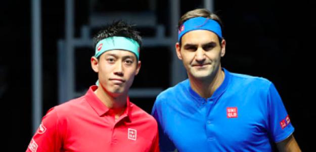 Kei Nishikori y Roger Federer. Foto: Getty