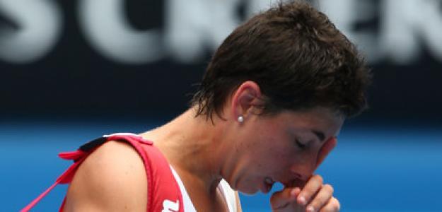 Carla Suárez tras acabar un partido del Australian Open