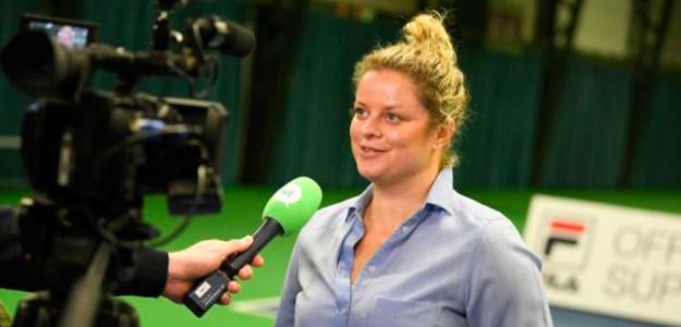 Kim Clijsters atiene a los medios. Fuente: Getty