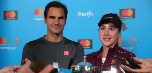 Federer y Bencic, campeones de la última Copa Hopman, en 2019. Fuente: Getty
