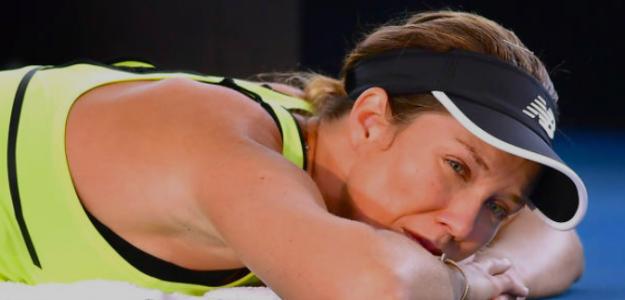 Danielle Collins siendo atendida durante un partido. Fuente: Getty