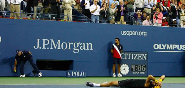 Del Potro, hace una década, celebrando su título en Nueva York. Fuente: Getty
