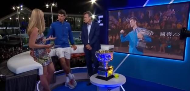 Novak Djokovic ante los micrófonos de Eurosport.