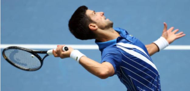 Novak Djokovic durante su partido ante Kyle Edmund. Fuente: Getty