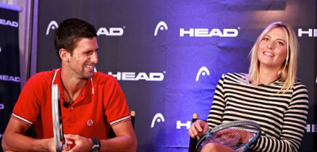Djokovic y Sharapova, en un evento de Head. Fuente: Getty