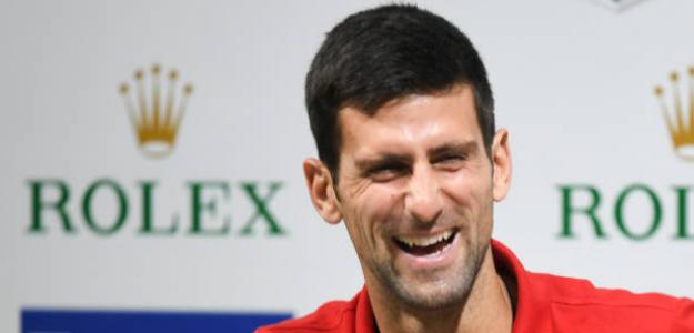 Novak Djokovic durante la rueda de prensa el domingo en Shanghái. Foto: Getty