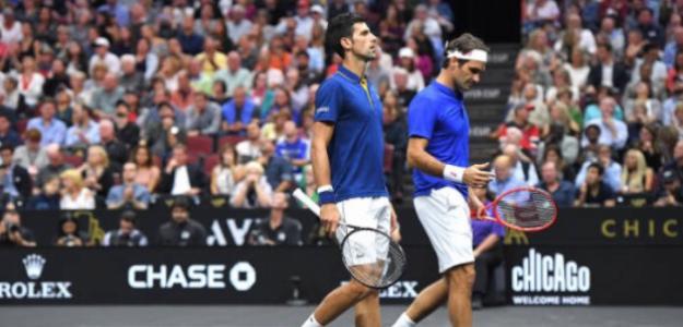 Novak Djokovic y Roger Federer se estrenaron con derrota en la Laver Cup. Fuente: Getty