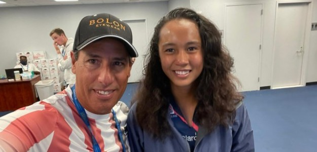 Duglas Cordero junto a Leylah Fernandez. Fuente: Getty