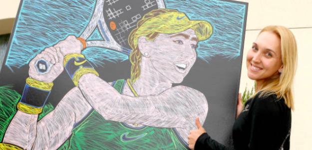 Elena Vensnina con un retrato en Indian Wells. Fuente: Getty
