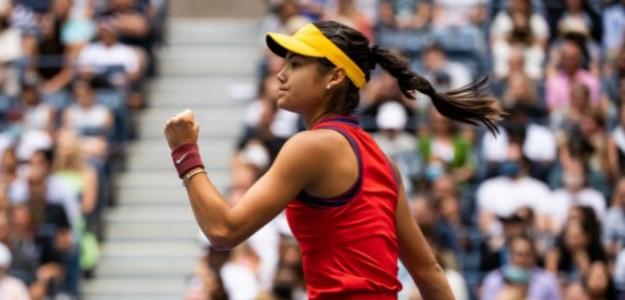 La jovencísima británica durante el partido por el título del US Open 2021. Foto: Getty
