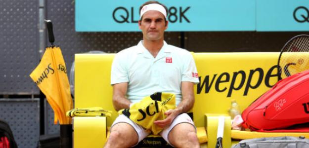 Roger Federer en Madrid, durante su partido ante Thiem. Foto: Getty