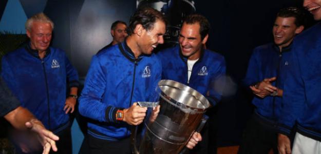 Federer y Nadal, en la Laver. Foto: Getty
