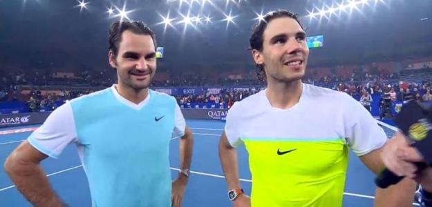 Federer y Nadal, durante su participación en la IPTL.