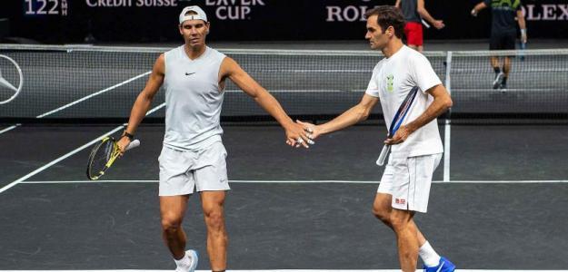 Rafael Nadal y Roger Federer en Laver Cup 2019. Foto: gettyimages