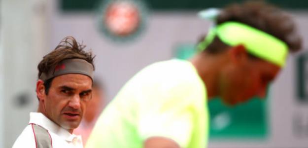 Federer, durante su partido ante Nadal. Foto: Getty