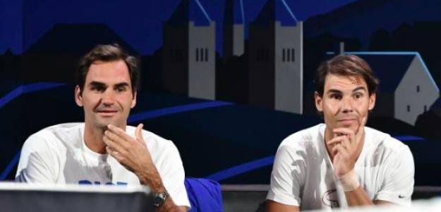 Roger Federer y Rafa Nadal durante la Laver Cup. Fuente: Getty