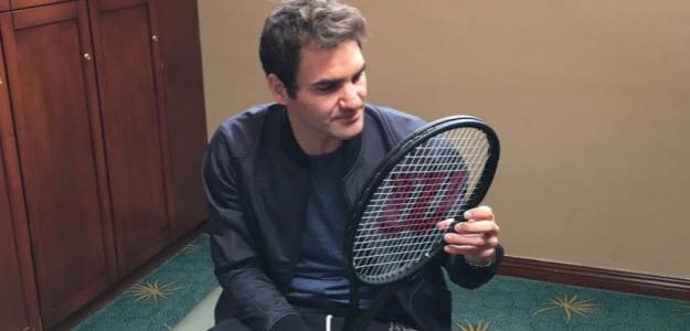 Roger Federer y su raqueta, la RF97 Autograph. Foto: Wilson