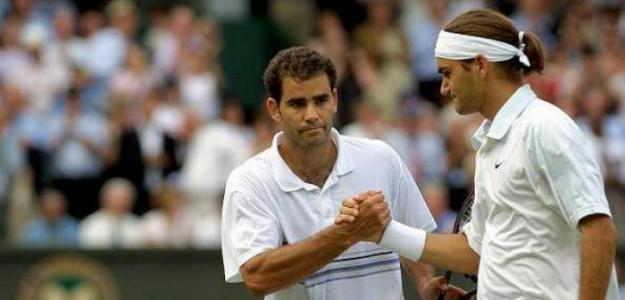 Federer y Sampras, en Wimbledon 2001. Foto: Getty