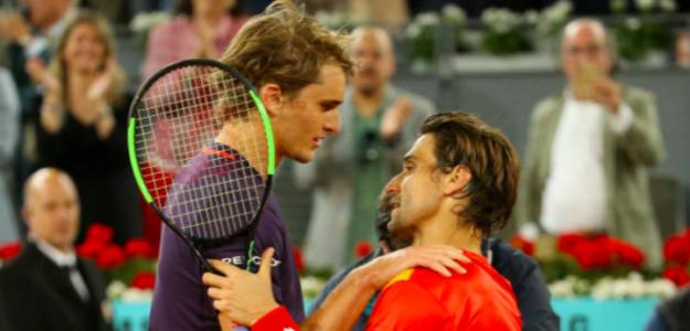 Alexander Zverev y David Ferrer en su último duelo en Madrid. Fuente: Getty