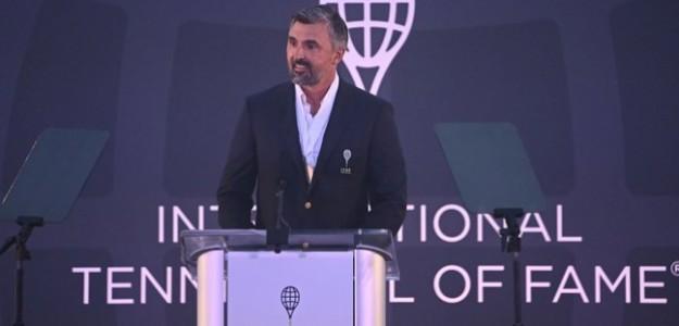 Goran Ivanisevic en su discurso de inducción. Fuente: Tennis Hall of Fame