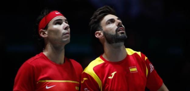 Marcel Granollers junto a Rafa Nadal en Copa Davis. Foto: Getty