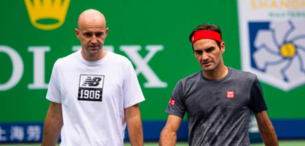 Ivan Ljubicic y Roger Federer en un entrenamiento en Shanghái. Fuente: Getty