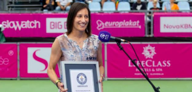 Katarina Srebotnik y su récord del mundo. Fuente. WTA