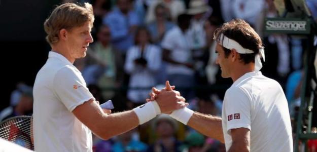 Kevin Anderson y Roger Federer. Foto: Getty