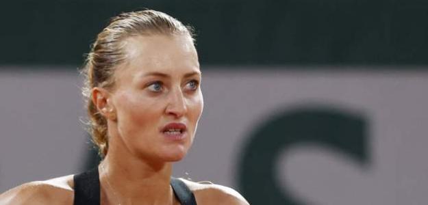 Kristina Mladenovic durante el torneo de Doha