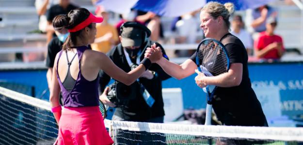 Kim Clijsters y Su-Wei Hsieh se saludan en la red. Fuente: WTA