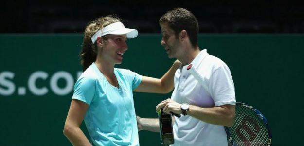 Johanna Konta y Esteban Carril durante un entrenamiento