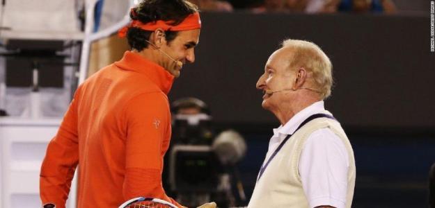 Roger Federer y Rod Laver. Foto: Getty