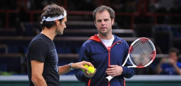 Severin Luthi y Roger Federer. Foto: Getty