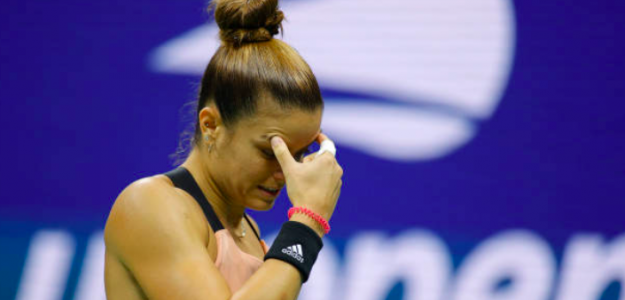La tristeza de Maria Sakkari tras su eliminación. Fuente: Getty