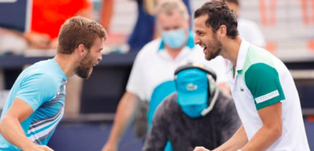 Nikola Mektic y Mate Pavic celebran su título en Miami. Fuente: Getty
